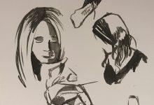Porträtt och snabbstudier i tusch